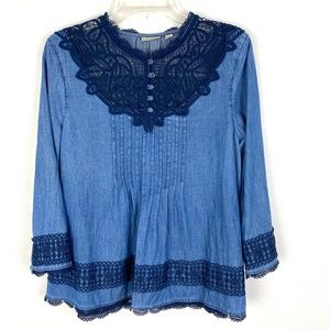 Anthropologie Holding Horses chambray lace top